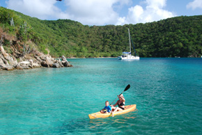 paddling kayaks in the bvi