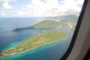 aerial of west end of tortola, flying into bvi