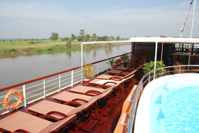 pool and lounge deck on AMA waterways ship, Mekong River Vietnam