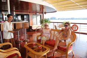 coctails on deck on the Mekong