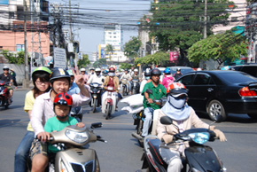 crazy traffic in saigon